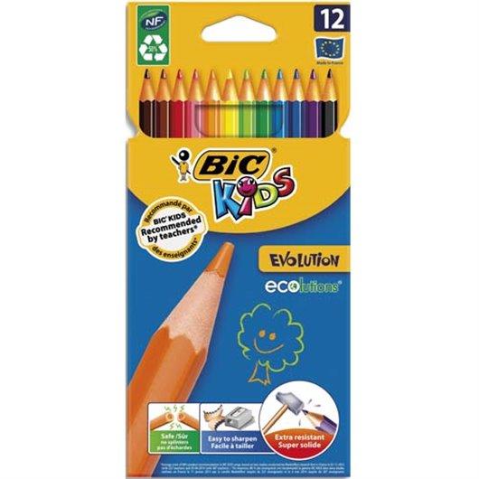 Etui carton 12 crayons de couleur Évolution