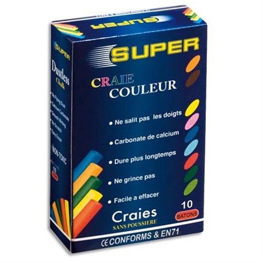 Boite de 10 craies anti-poussière coloris assortis