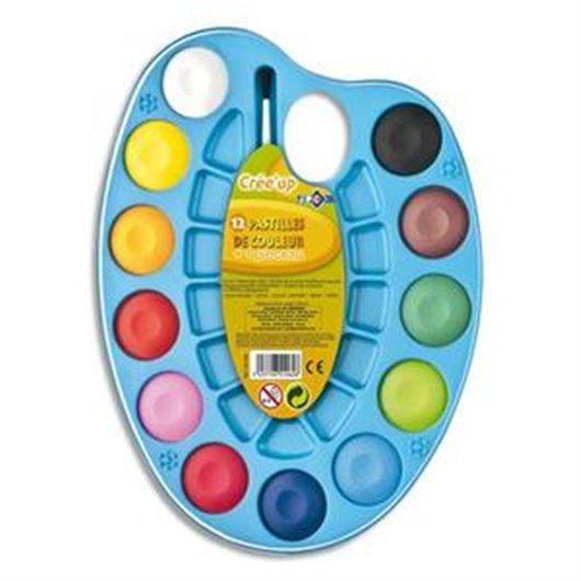 Palette ovale de 12 pastilles de couleur + 1 pinceau
