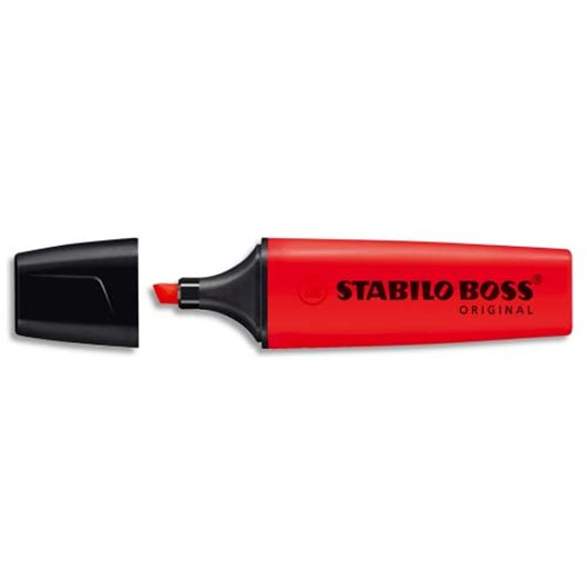 Surligneur pointe biseautée rouge - Boss Stabilo