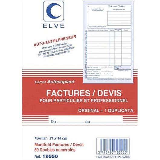Manifold entrepreneur autocopiant factures / Devis format 210x140mm. 50 feuillets duplicata