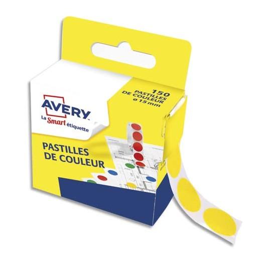 Boîte distributrice de 150 pastilles adhésives Ø15 mm. Coloris jaune