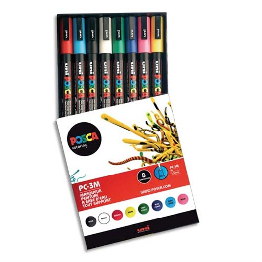 UNI B/8 MARQ POSCA PTE MOY ASS PC5M/8
