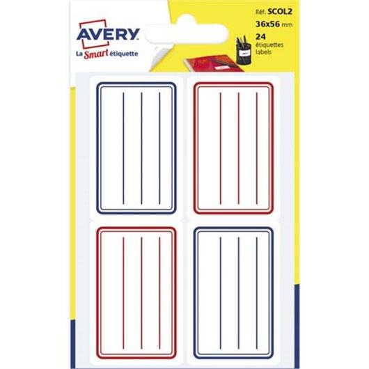 AVE S/24 ETIQ SCOL LIGNE 36X56 B/R SCOL2