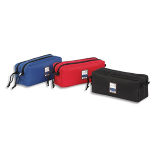 Trousse  TEKNIK - Rectangle 2 compartiments : 22x9x7cm Nylon - Assortis  : rouge. noir. marine