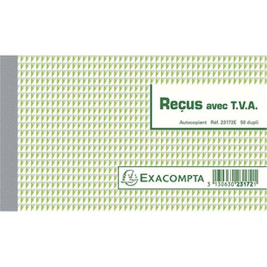Manifold Reçus avec T.V.A 10.5x18cm - 50 feuillets dupli autocopiants