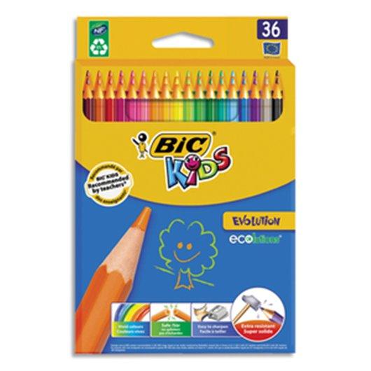 Etui carton 36 crayons de couleur EVOLUTION. Longueur 17.5cm. Coloris assortis