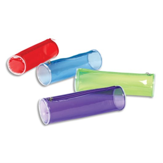 Trousse ronde PROPYGLASS 22 X 7 X 7cm PVC Assortis Transparent rouge. bleu. vert. violet