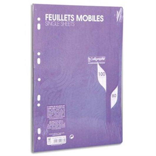 Feuillets mobiles bleu perf 2trous 80g 100pges grands carreaux format A4-Sous film-CAL7000