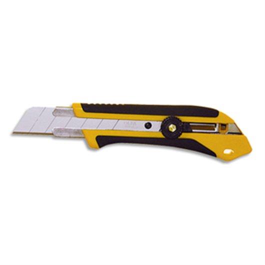 Cutter XH-1 Jaune noir. manche en caoutchouc. blocage par molette. lame secable - Largeur lame 25 mm