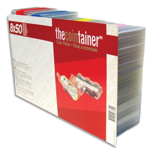 Boîte de 400 étuis à monnaie THE COINTAINER panachés (50 étuis de chaque modèles) FA62264