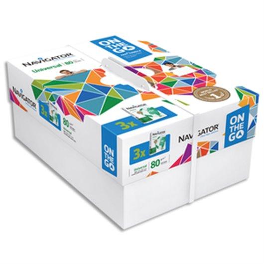 Lot de 3 ramettes 500 feuilles papier extra blanc Navigator Universal A4 80G CIE 169