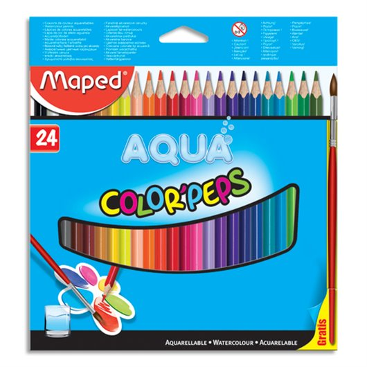 MAPED Boîte de 24 crayons de couleur aquarellables COLOR'PEPS + 1 pinceau offert