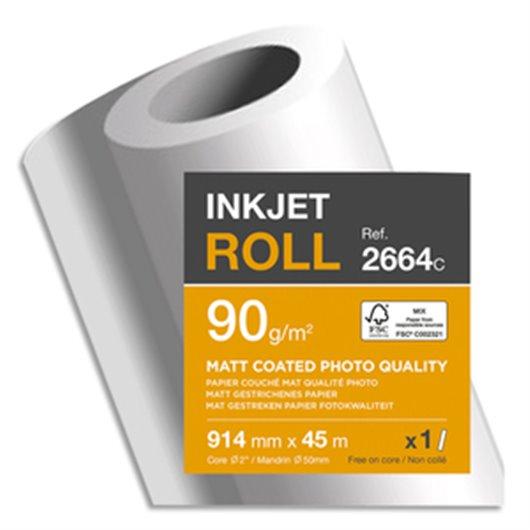 CLAIREFONTAINE Bobine papier blanc CIE153 Couché Mat 90g pour traceur 0,914mmx45m. Qualité photo