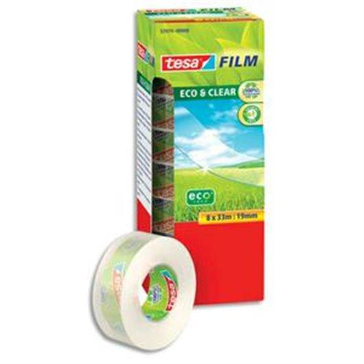 TESA Tour de 8 Rubans adhésifs Eco and Clear transparents, en plastique recyclé - Format  L33 x l19 mm