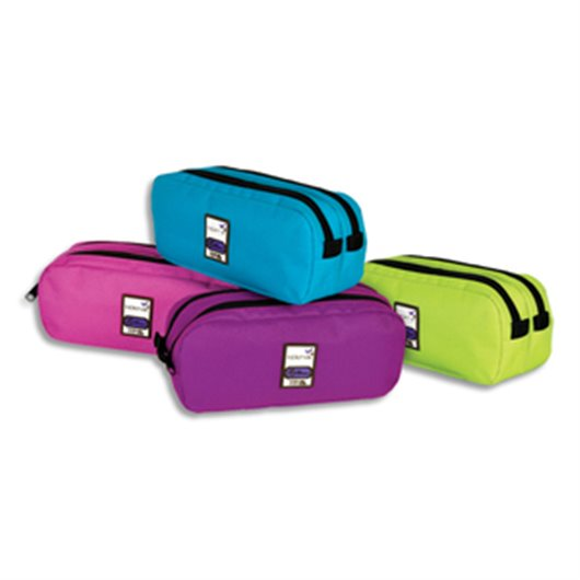 Trousse rectangle 2 compartiments 22x10x7cm Nylon -Assortis  violet, rose, turquoise, anis