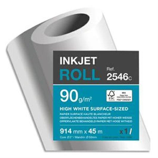 CLAIREFONTAINE Bobine papier blanc CIE164 Surfacé 90g pour traceur 0,914mmx45m. Impression Jet d'encre