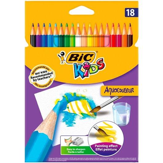 BIC Pochette 18 crayons de couleur aquarellable AQUACOULEUR. Corps 17,5cm. Coloris assortis