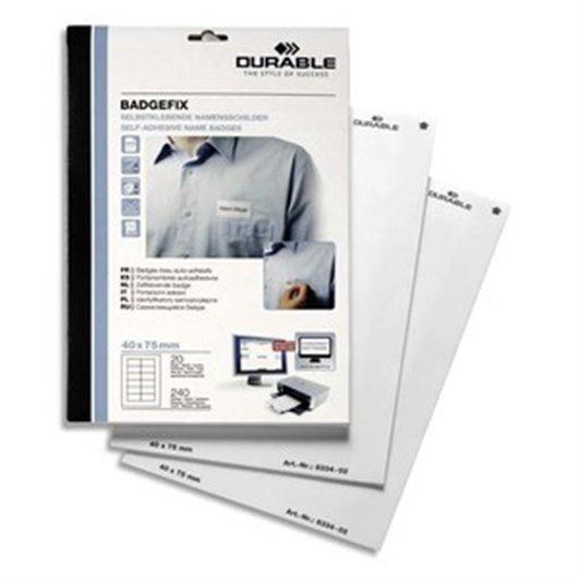 DURABLE Boîte 240 Badges adhésifs Badgefix en tissu imprimables - H40 x L75 mm