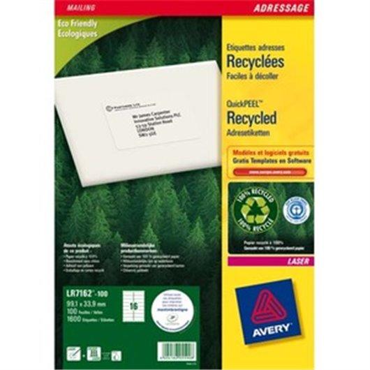 AVERY Boîte de 1600 étiquettes adresse laser recyclées blanc 99.1X33.9 LR7162-100