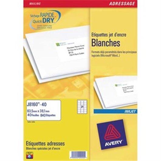 AVERY Boîte de 400 étiquettes adresses jet d encre 99,1x33,9mm blanches J8162-25