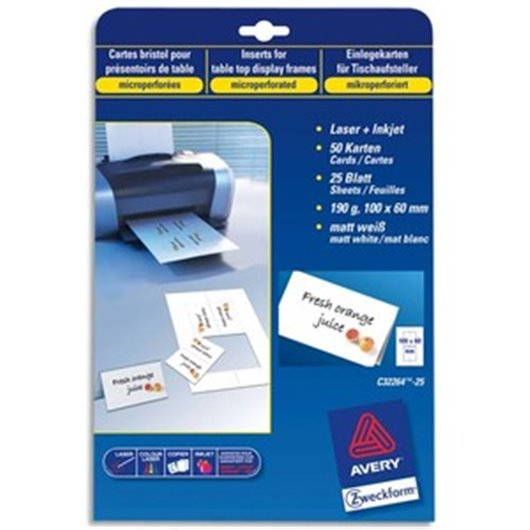 Pochette de 250 cartes de visite (85x54 mm) 270g coins droits laser finition mate