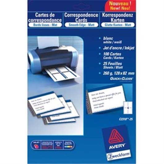 Pochette de 200 cartes de visite (85x54 mm) 260g coins droits jet d'encre finition mate