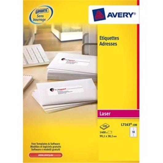 AVERY Boîte de 1400 étiquettes laser blanc 99,1X38,1mm L7163-100