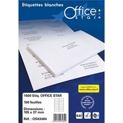 OFFICE STAR Boite de 1600 étiquettes multi-usage blanches 105X37mm OS43484