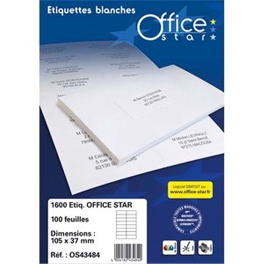 OFFICE STAR Boite de 400 étiquettes multi-usage blanches 105X148,5mm OS43483
