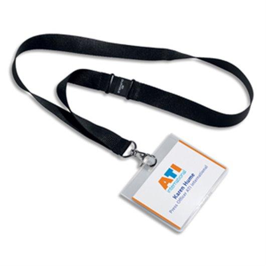DURABLE Boîte 5 Kit porte-badges avec lacet textile - L440 x l20 mm - Noir