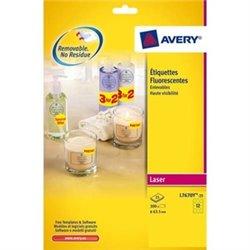 AVERY Boîte de 300 étiquettes laser jaune fluo diamètre 63.5 L7670Y-25