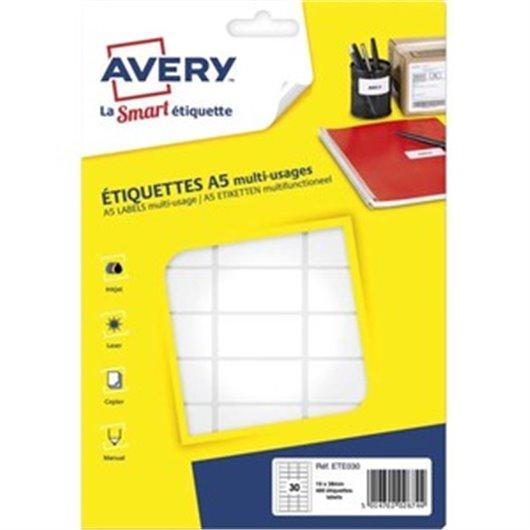 AVERY Sachet de 480 étiquettes multi-usage blanches 19*38 mm. Planche format A5. ETE030