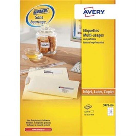 AVERY Boîte de 1200 étiquettes blanches multi usages 70 x 70 mm 3474-100
