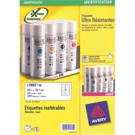 AVERY Boîte de 540 étiquettes ultra résistante métalliques 63.5X29.6mm impression laser L6011-20