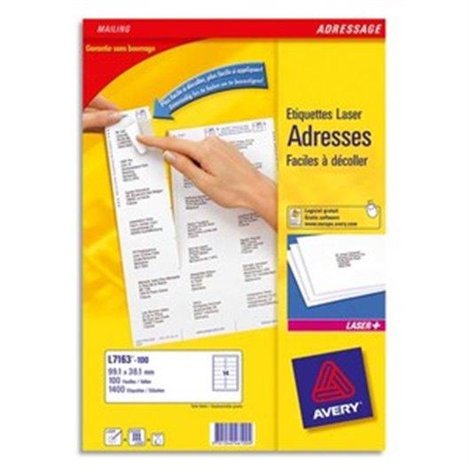 AVERY Boîte de 3500 étiquettes laserBlanc 99,1X38,1 L7163-250