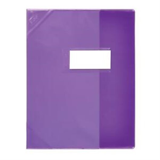 ELBA Protège-cahier translucide 24x32 cm + porte-étiquette, coloris violet
