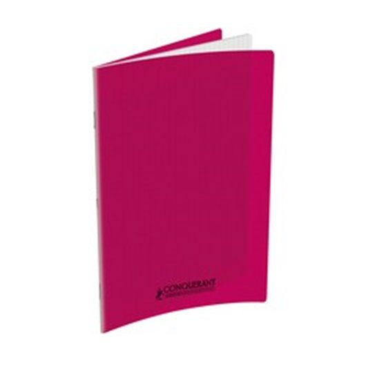 HAMELIN - Cahier piqûre 17x22 96 pages grands carreaux 90g. Couverture polypro rose