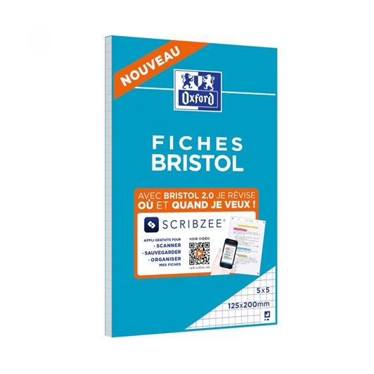 Bloc de fiches Bristol 2.0 perforées 125x200 30 feuilles Q5x5