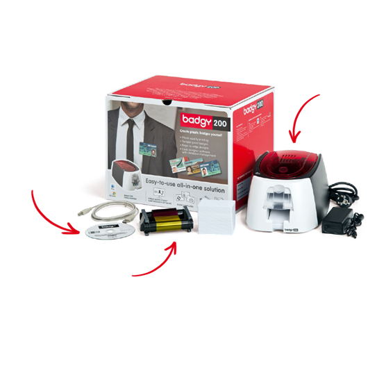 EVOLIS Badgy Imprim Badgy200+1 rub coul 100 imp+100 cartes PVC épaisses+logiciel Badge Studio+ B22U0000RS