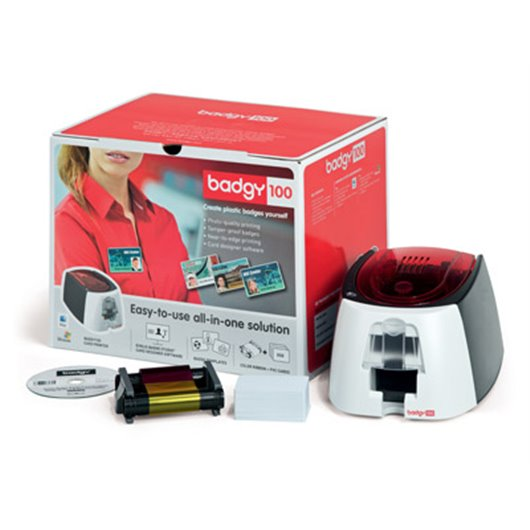 EVOLIS Badgy Imprim Badgy100+1 ruban coul 50 imp+50 cartes PVC épaisses+logiciel Badge Studio B12U0000RS