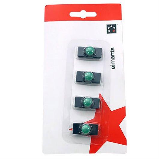 5 ETOILES Plaquette de 4 aimants rectangulaires Noir à téton Vert 1,1 x 2,7 cm