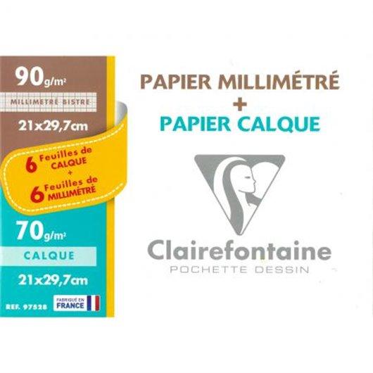 CLAIREFONTAINE Pochette de 12 feuilles 70g 6 feuilles papier millimétré et 6 feuilles calque