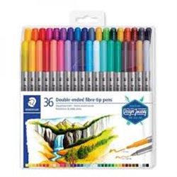 STAEDTLER Set 36 Feutres de coloriage double pointe fine 0,5 à 0,8mm et large 3mm, à base d'eau, assortis