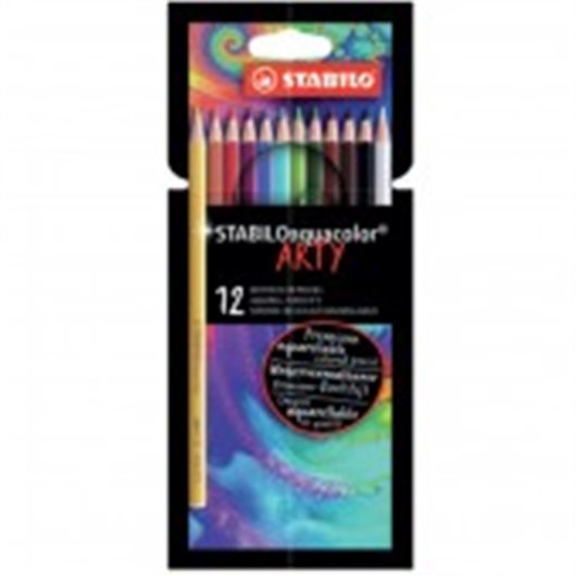 STABILO Etui carton 12 Crayons de couleur aquarellables Aquacolor ARTY, mine solide 2,8 mm, assortis