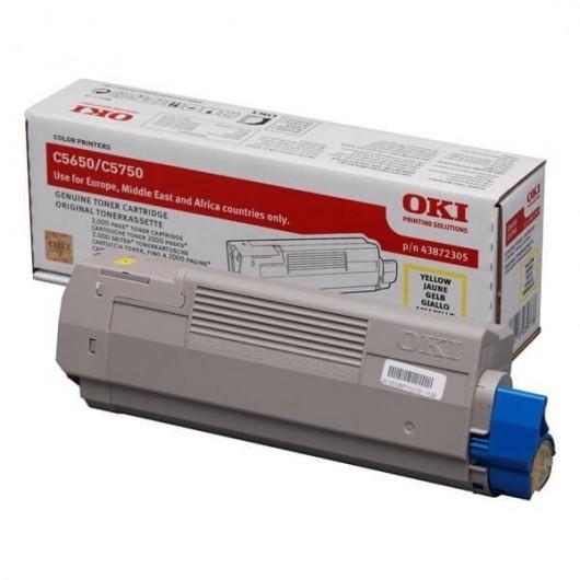 43872305 Jaune Toner OKI C5650/C5750