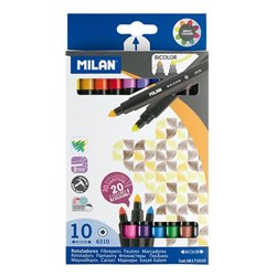 MILAN - Pochette 10 feutres bicolores