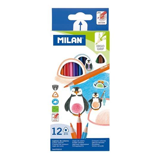 MILAN - Pochette 12 crayons de couleur triangulaires