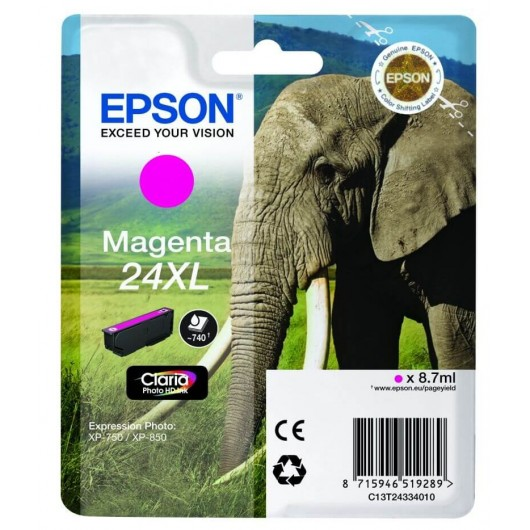 "T2433 Cartouche jet d'encre Magenta "" Elephant"" Claria Photo HD N°24XL"