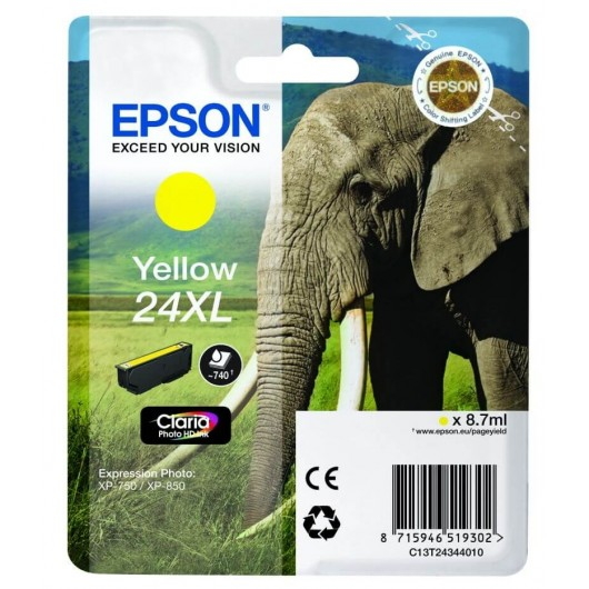 "T2434 Cartouche jet d'encre Jaune "" Elephant"" Claria Photo HD N°24XL"